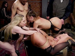 Hardcore BDSM group sex in public