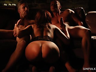 Gorgeous woman Anna Polina is making love with two horny men